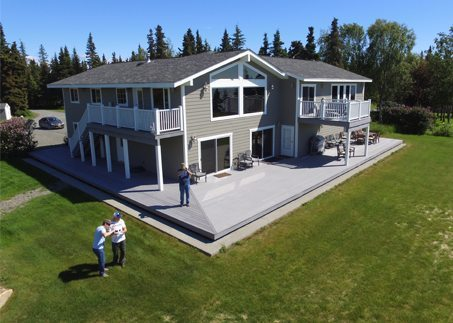 An aerial view of Jimmie Jack's SeaScape Lodge.